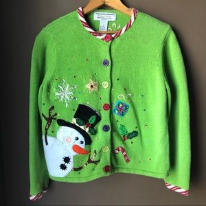 Ugly Christmas Sweater Snowman Candy Canes Xmas Sm